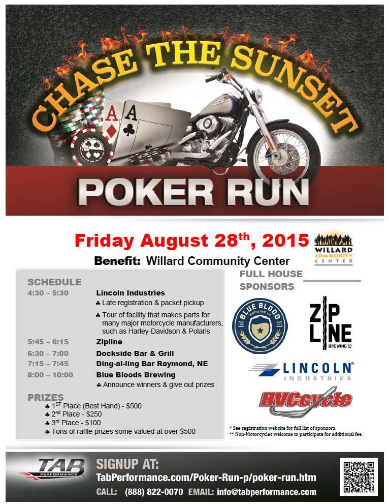 Willard Community Center Chase The Sunset Poker Run On August 28th